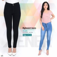 Celana Panjang Highwaist Jeans HW Long Pants Girl Wanita Women Denim A