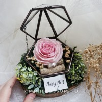 Pink Rose Clay Wooden Terrarium / Kotak cincin Ring Bearer