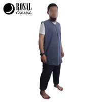 ROSAL ZIPPER - PAKAIAN BAJU GAMIS JUBAH ROMPI SHALAT MUSLIM PRIA - Navy, XL