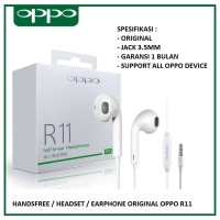HANDSFREE EARPHONE HEADSET OPPO R11 F5 F3 F1 PLUS A33 A37 A39 ORIGINAL