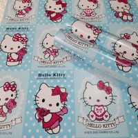 Wallpaper hello kitty biru kotak 45 cm x 10 mtr