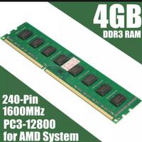 RAM 4GB DDR3 PC3-12800 1600MHz Memory RAM PC DESKTOP UNTUK AMD SISTEM