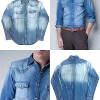 ZARA Men Denim Shirt with Studs. Studded Kemeja Jeans Pria Topman HM