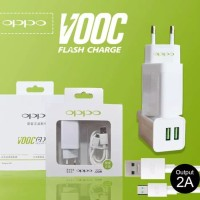 CHARGER OPPO VOOC FAST CHARGING 2AMPERE 2PORT USB ORI 99% WHITE