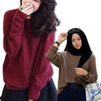 Sweater Roundhand Wanita Rajut Atasan Wanita Loose Baju Kaos Cewek -
