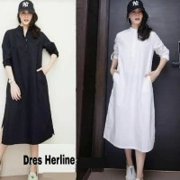 Midi dress hitam putih baju wanita polos kemeja hem tunik panjang