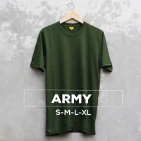 KAOS POLOS COTTON COMBED 30s WARNA ARMY HIJAU ARMY Size S M L XL