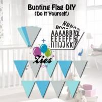 Banner flag / bunting flag custom ( DIY - Do lt yourself ) segitiga - Biru