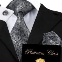 dasi batik import pria abu hitam batik set platinum class