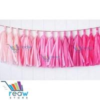 Tissue Paper Garland / Pompom Tassel / Rumbai Kertas DIY Gradasi Pink
