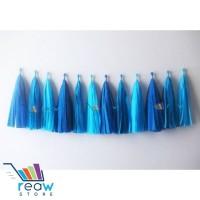 Tissue Paper Garland / Pompom Tassel / Rumbai Kertas DIY Gradasi Biru