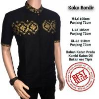 Kemeja Batik- Baju Koko Modern Bordir Hitam