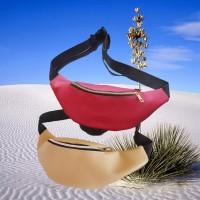 Waistbag simple maroon Tas pinggang kulitt