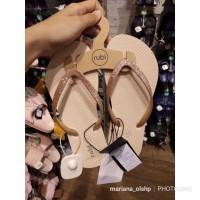 Sandal Jepit Rubi Gliter Cream / Krem