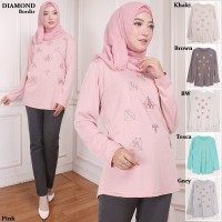 Baju Atasan Blouse Muslim Fashion Wanita Diamond Bordir