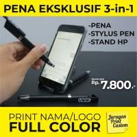 Pena Promosi 3in1 Stylus Touch Pen Stand HP Ballpoint Bolpen Pulpen