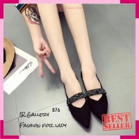 Sepatu Flat Shoes Wanita Gliter SDB102 Hitam