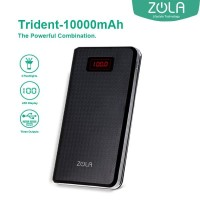 Zola Trident 10000 mAh Fast Charging 2.1A Powerbank - Black