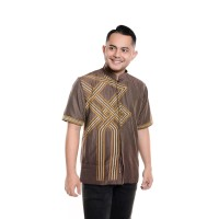 Baju Koko Lengan pendek Bordir Kualitas Premium TN 902 Coklat Tua