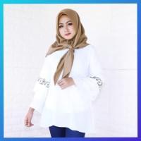 atasan hijab muslim baju wanita kemeja hem blouse print tunik putih