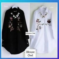 atasan hijab muslim baju wanita kemeja hem blouse owl tunik putih