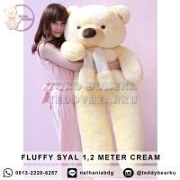 Boneka Teddy Bear FLUFFY SYAL SUPER JUMBO 1,2 METER WARNA CREAM