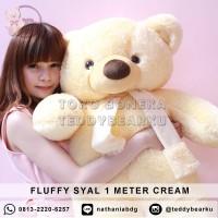 Boneka Teddy Bear FLUFFY SYAL JUMBO 1 METER WARNA CREAM