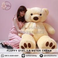 Boneka Teddy Bear FLUFFY SYAL SUPER SUPER JUMBO 1,5 METER WARNA CREAM