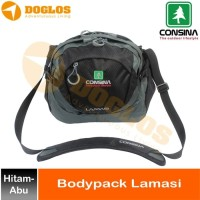 Tas Body Pack Consina Lamasi Selempang travel pouch outdoor Hitam Abu