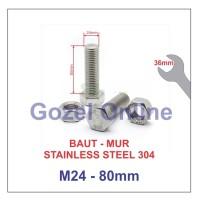 Baut Mur M24 x80mm Stainless Steel 304 - Baut Stenlis SUS304