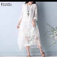 kaftan zanzea mid calf sun dress lace / baju asimetris wanita