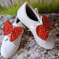 Sepatu Wanita Kets Casual Pita Polkadot SDS247 Putih