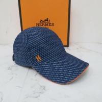 hermes hat blue motif