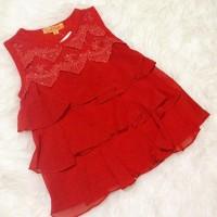 baju atasan / blouse kaos merah natal anak perempuan