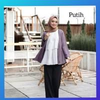 baju atasan muslim wanita jumbo bigsize kemeja blus maxi tunik putih
