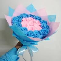 Buket bunga mawar flanel warna pink biru untuk hadiah wisuda, dll