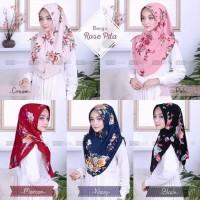 Hijab Instan Motif Bunga Rose Pita Serut Pet Mini