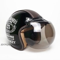 Helm Bogo Dewasa SNI - Semi Kulit Motif Jack Daniels Hitam Glossy - JP Smoke