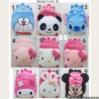 Tas Ransel Anak Boneka Doraemon Panda Stitch Hello Kitty Melody Minnie