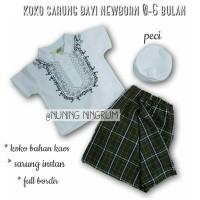 Baju Bayi Laki-Laki Baju Muslim Koko Bayi Set Sarung dan Peci Bayi OZK