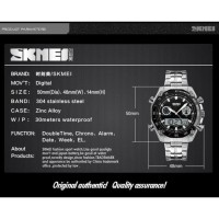 Jam Tangan Pria Digital Analog Skmei 1204 Black Water Resistant 30m