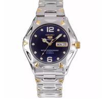 Seiko 5 SNZ458 Silver Gold Blue - Jam Tangan Pria Original