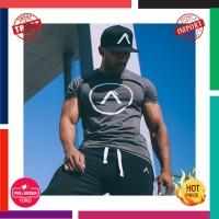 Pria Running Olahraga Katun T Shirt Gym Kebugaran Latihan Latihan