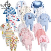 Retail 3pcs/pack 0-12months long-Sleeved Baby Infant cartoon footies f