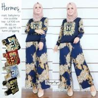 Baju Setelan Wanita Atasan Celana Hermes Set Classy