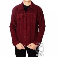 Jaket Jeans Pria Maroon Original Kent/Jaket Jeans Pria Murah