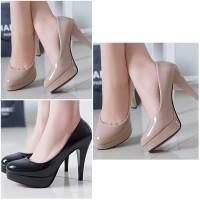sepatu kerja wanita pantofel high heels hitam & cream polos 7cm formal
