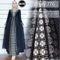 turkey 575 baju gamis hitam pesta bahan jersey super mix ceruty bordir