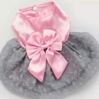 Korean Dress Baju Anjing Doggy Dog Fashion Pink Ribbon Satin Import XL