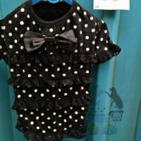 Black Polkadot Dog Pet Fashion Baju Kaos Anjing Doggy Kucing size M